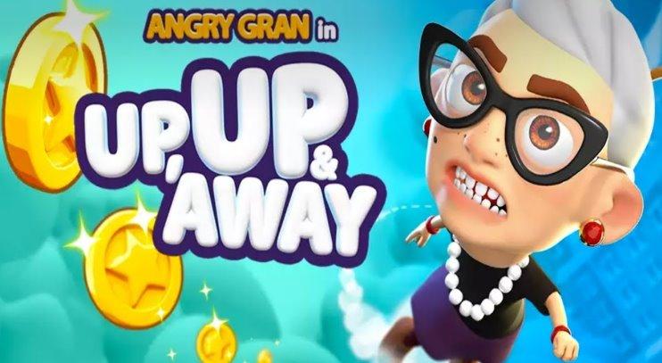wütend Gran up und weg springen