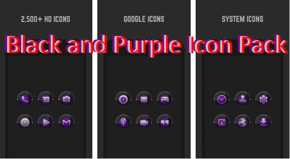 black and purple icon pack