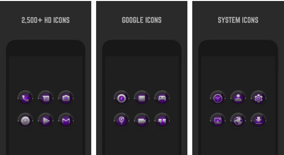 black and purple icon pack APK Android