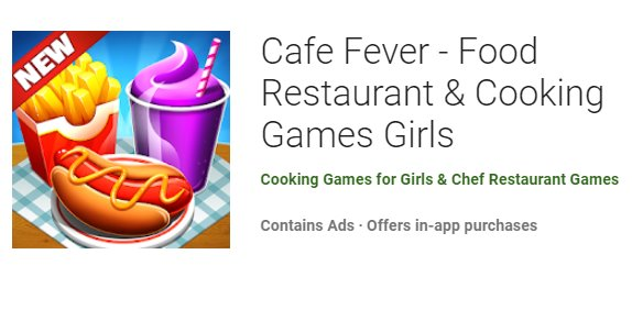 cafe fever food restaurant and cooking games girls