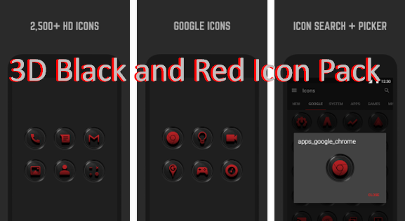 3D Black and Red Icon Pack MOD APK Android Free Download