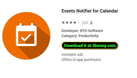 events notifier for calendar