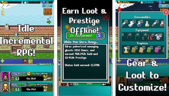 холостой бой пикселей кликера и ретро рпг