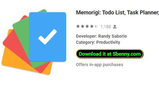 Planejador de tarefas de lista de memorias e lembrete