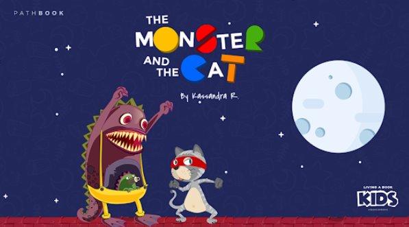 Monstruo y la historia interactiva del gato para niños.