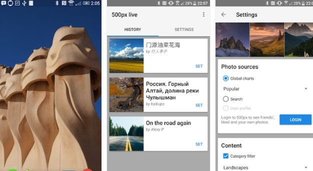 500px live wallpaper APK Android