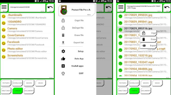 защитить файл про блокировку и отправить файл en de crypt APK Android