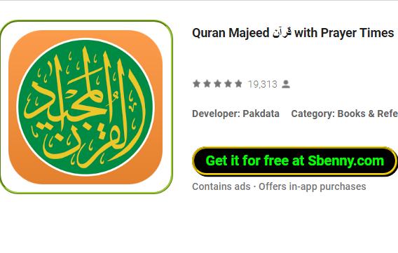 Quran majeed avec des temps de prière