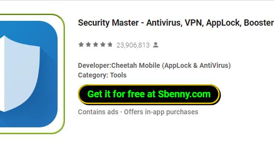 мастер безопасности Antivirus vpn applock booster