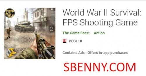 Supervivencia de la Segunda Guerra Mundial: FPS Shooting Game + MOD