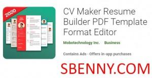 ویرایشگر قالب قالب CV Maker Resume Builder PDF قالب + MOD