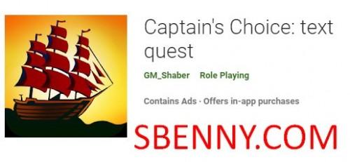 Choix du capitaine: quête de texte + MOD
