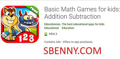Jogos básicos de matemática para crianças: subtração de adição + MOD
