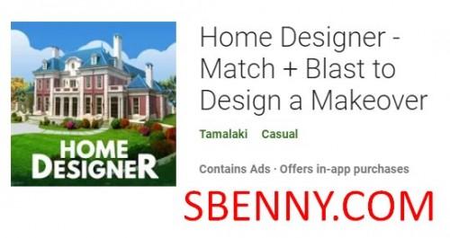 Home Designer - Match + Blast para diseñar un cambio de imagen + MOD