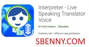 Interprète - Traducteur parlant en direct Voice + MOD