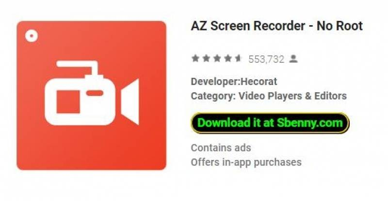 AZ Screen Recorder - Sem Root + MOD
