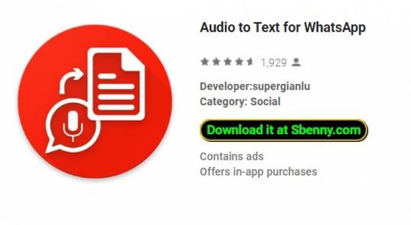 Audio a testo per WhatsApp + MOD