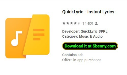 QuickLyric - Paroles instantanées + MOD