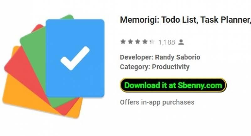 Memorigi: liste Todo, planificateur de tâches et rappel + MOD